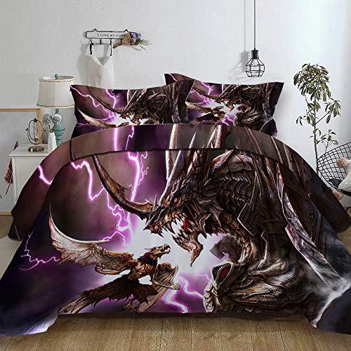 Fansu Bettwäsche Set Bettbezug 3 TLG, Mikrofaser 3D Dinosaurier Bedrucktes Bettwäsche Set Kopfkissenbezug Bettbezug mit Reißverschluss Schließung (135x200cm-2pcs, Blitz Drache)