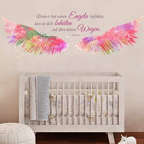 tjapalo® v123 Wandtattoo Psalm 91 Denn Er hat seinen Engeln befohlen christliches Wandtattoo Mädchen Kinderzimmer, Größe: B110xH36cm