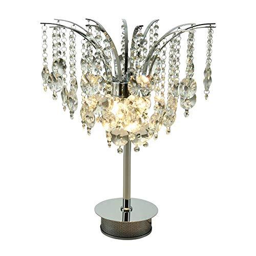 Lámpara de mesa de cristal, elegante y decorativa, cromada, para salón, mesita de noche, decoración artística, para dormitorio, mesa de café, librería, lámpara de mesa