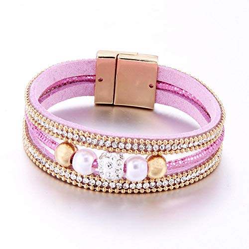 Jewellery Bracelets Bangle For Womens Jewelry Leather Multilayer Bracelets Women Crystal Metal Beads Charm Bracelet Female Jewelry-Blue