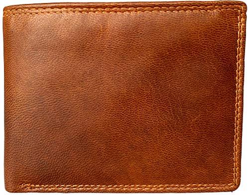 Lundholm leren heren portemonnee heren leer cognac RFID - hoogwaardig leder billfold model bruin veel pasruimte pasjeshouder portemonnee voor mannen leer cognac