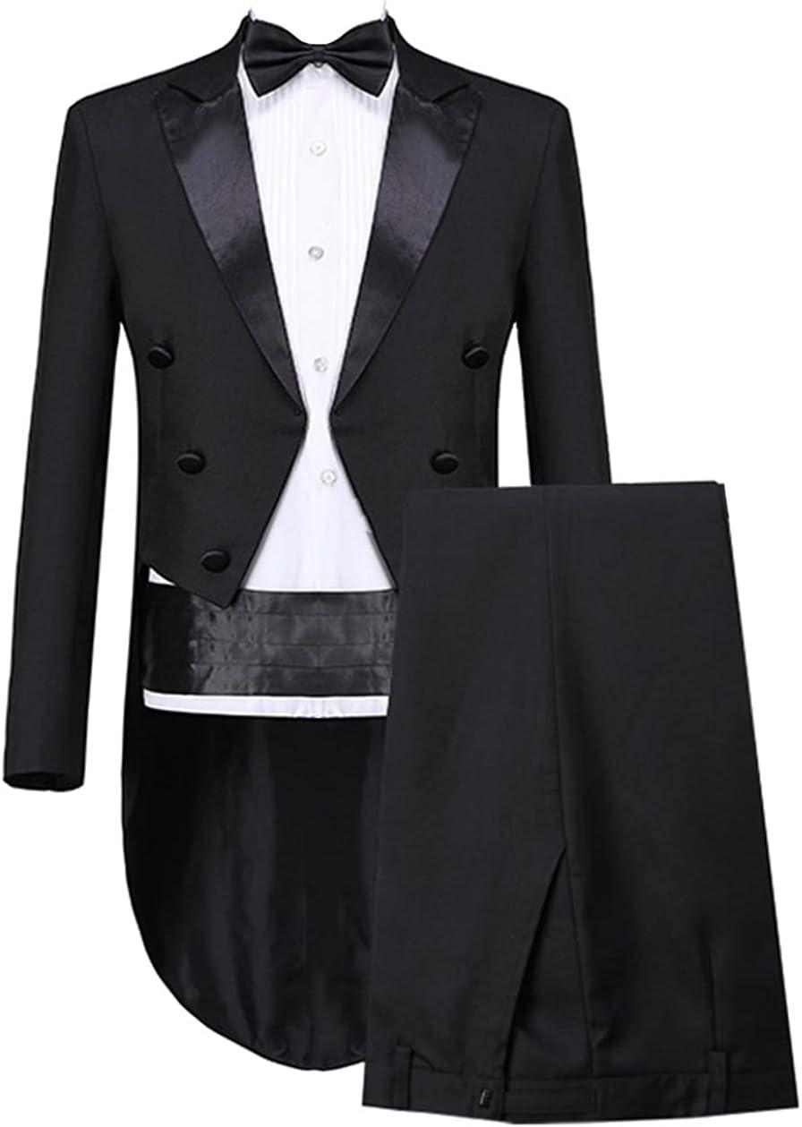 Men's Long Tailcoat Wedding Suit Magic Show Costume Tuxedos Party Dinner Suits (Black,4X-Large)