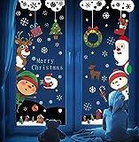 Voqeen Natale Vetrofanie Finestre Sticker Natale Adesivi Porta Addobbi Rimovibile Statico Adesivi per Casa Fai da Te Murali da Parete Decorazione Babbo Natale Vetrina Wallpaper