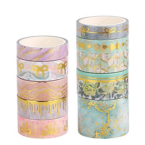 Washi Masking Tapes Set, 10 Rollen Goldfolie Dekoratives Washi Masking Tape Washi-Klebeband-Set Dekoratives Masking Tape für DIY Geschenkverpackung Craft Arts Bullet Journal