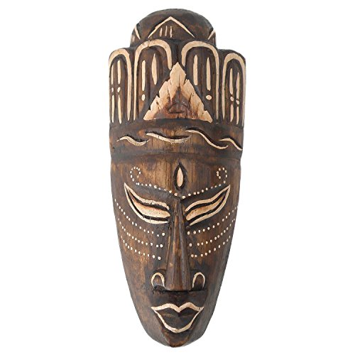 Maske bemalt 20 cm, Holz-Maske aus Bali, Wandmaske, Afrikanische Dekoration