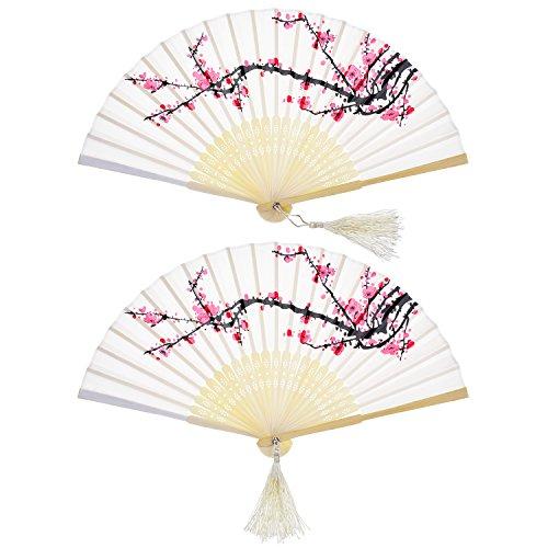 2 Stücke Folding Fans Hand Fans Bambus Fans mit Quaste Frauen Ausgehöhlten Bambus Hand Halten Fans für Wanddekoration, Geschenke (Weiße Kirsche)