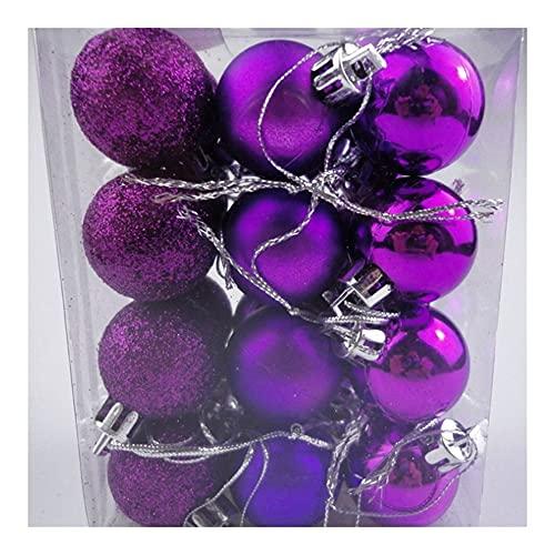 GGHHJ 24pcs / 3 cm Oro Rosa Champagne Rosso Metallico Palle Natalizie Decorazione Albero di Natale Palline Natale Decorazione per la casa Noel Nuovo Anno Regalo (Color : Purple)