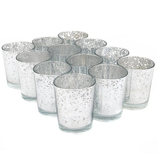 Maison & White Set of 12 Speckled Tea Light Holders | Stylish Glass Candle Holders | Table & Home Decoration | Modern Home Accessories | M&W (Silver)