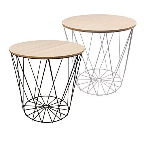 Mesa Diseño Mesa Auxiliar alambre cesta Metal con tapa color ...
