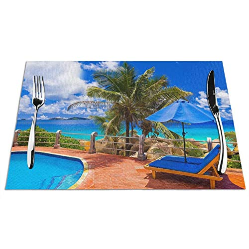 Pnnuo Tropical Sea Uumbrella Swimming Pool Placemats,Heat Resistant Table Mats Stain Resistant Non-Slip Washable PVC Placemats for Holiday Banquet Kitchen Dining Home Decoration