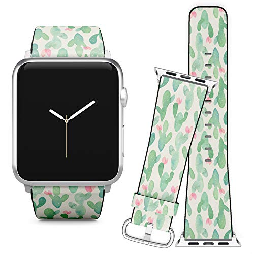 Compatible with Apple Watch iWatch (38/40 mm) Series 5, 4, 3, 2, 1 // Soft Leather Replacement Bracelet Strap Wristband + Adapters // Watercolor Cactus On