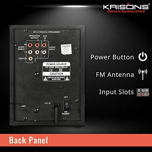 KRISONS Multimedia Speaker   App Controlled, Bluetooth Supporting Home Theatre   USB, AUX, LCD Display, Built-in FM, Recording, Remote Control (Black, 5.1 Channel)- Genius-25