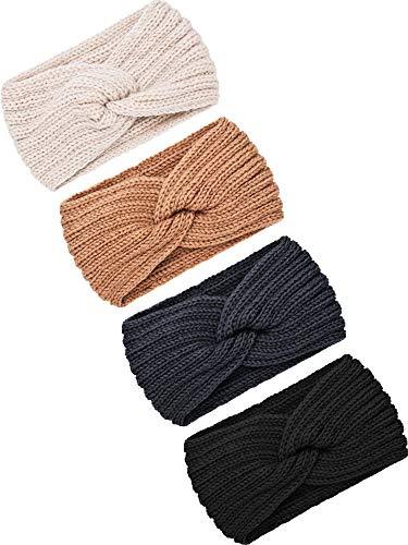 TecUnite 4 Stück Klumpig Stricken Stirnbänder Winter Geflochten Stirnband Ohrwärmer Häkeln Kopf Wickel für Damen Mädchen (Farbe Set 9)