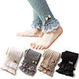 4 Pack Girls Cotton Double Top Lace Bow Cable Knit Classic Ankle Leggings Pants Footless Tights 8-10T