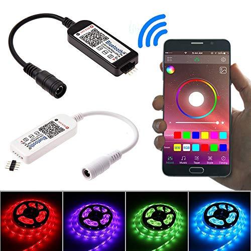 Wyxhkj LED Lichtleiste, Mini Bluetooth/Wifi LED Controller & Fernbedienung LED Strip Light mit Smartphone Steuerung Timing Modus für 5050 3528 RGB/RGBW LED Strip Light (Schwarz)