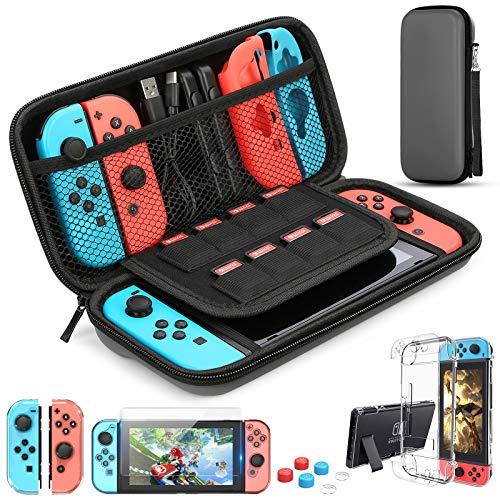 HEYSTOP Zubehör Kompatibel mit Nintendo Switch Tasche mit Hülle Transparent Kompatibel mit Nintendo Switch Schutzfolie Daumen Kappen Kompatibel mit Nintendo Switch Konsolen Zubehör,Grau