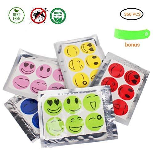 Daxoon Smiley Muggenbescherming, 360 stuks, muggenwerende stickers voor kinderen, volwassenen, voor zomerse outdooractiviteiten (willekeurige kleuren)