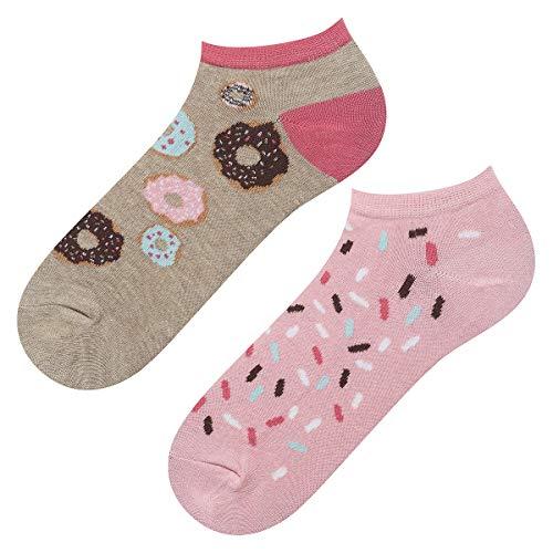 soxo Damen Sneaker Socken | Kurze Socken für Frauen mit Lustigen Mustern | Größen 35-40 (Donuts)