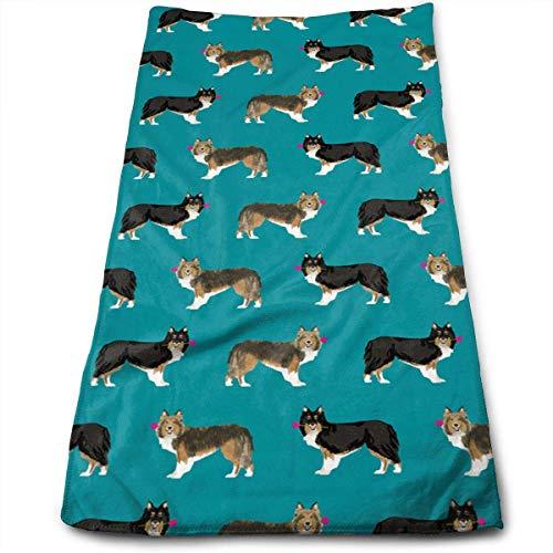 Tyueu Toallas para la cara Sheltie Shetland Sheepdog 100 % algodón, resistentes a las manchas, altamente absorbentes, lavables a máquina, calidad de hotel, toalla suave absorbente.
