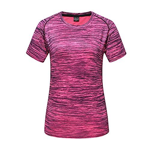 DamaiOpeningcs Camiseta para correr, manga corta rápida para hombres y mujeres, camiseta deportiva, W rosa roja_2XL