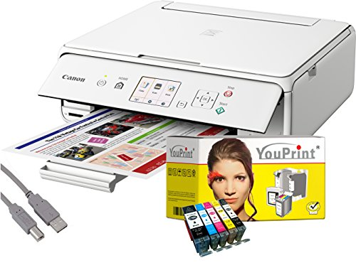 Canon Drucker TS5051 Tintenstrahl-Multifunktionsgerät weiß (Drucken, Scannen, Kopieren, Cloudlink) mit 5 komp. YouPrint® Tintenpatronen PGI-570/CLI-571 XL