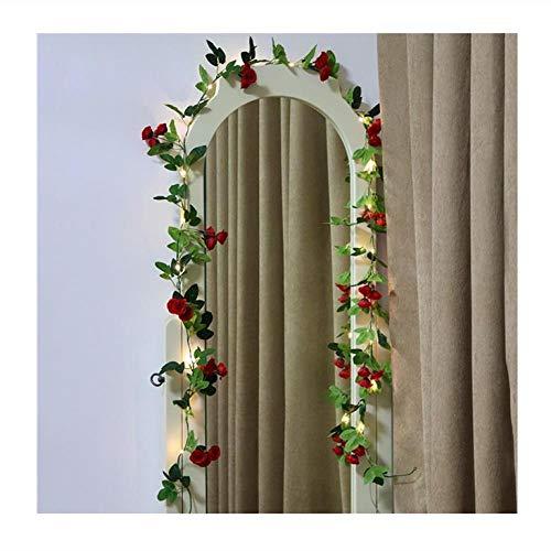Novedad 2.2M Rose Flower Luces de hadas Artificial Rose Ivy Garland Cobre Cadena de luces para ramos Decoraciones de dormitorio de boda, D