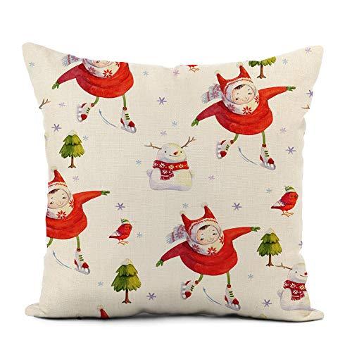 Awowee Funda de cojín de lino de 45 x 45 cm, diseño de bastón de caramelo de Navidad con lazo rojo y bayas sobre fondo blanco abstracto folleto decoración del hogar, funda de almohada cuadrada para cama y sofá, Lino, Color 4, 18'x 18'