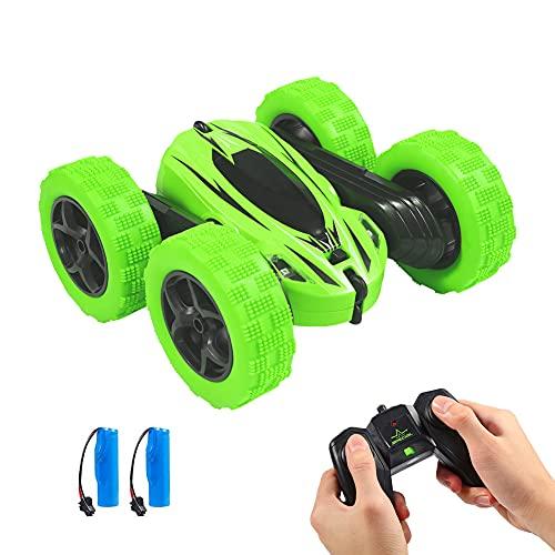 Twister.CK RC Stunt Car, Giocattoli per Bambini Telecomando Auto da Corsa - 4 Ruote Doppie a 360 ° Giri e ribaltamenti Guida Auto Giocattoli per Bambini Natale, Verde