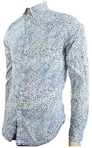 Linea Chemise à manches longues Motif floral Blanc - Bleu - Small