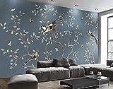 Papel pintado Vintage Art Light Blue Bird y rama de mariposa Pared Pintado Papel tapiz 3D Decoración dormitorio Fotomural de estar sala sofá mural-300cm×210cm