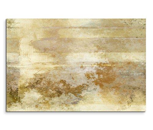 Paul Sinus Art 120x80cm Leinwandbild auf Keilrahmen Malerei Acryl Hintergrund abstrakt beige braun Wandbild auf Leinwand als Panorama