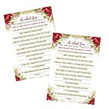 Rustic Christmas Trivia Game Cards Pack of 25 (Version 2) Guessing Activity for Adults, Kids, Groups and Coworkers – Holiday Event Supply Red and Gold Floral 5x7 Printed Set - Paper Clever Party