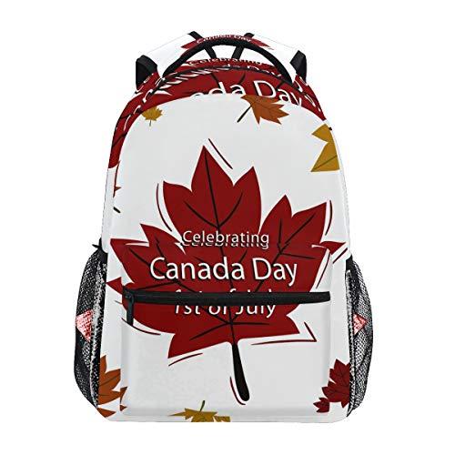 Canada Day 1St of Luglio Foglia d'Acero Zaino Donna Uomo Ragazzo Ragazzo Scuola Borsa Borsetta Libro Casual Forniture