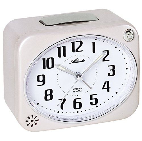 Atlanta Reloj despertador para personas mayores con timbre alto, analógico, blanco, 1991-0