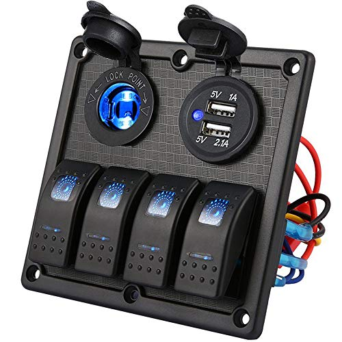Kohree 4 Gang Panel de Interruptor de Cargador de Coche Basculantes a Prueba de Agua 12V/24V Doble Cargador USB voltímetro LED Interruptor zócalo de Cigarrillos para Coche camión Barco Marino