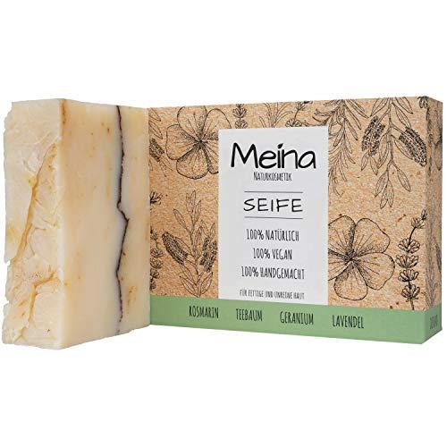 Meina Naturkosmetik - Naturseife, Bio Seife mit Teebaum & Lavendel ohne Palmöl, Vegan, Handgemacht (1 x 100 g)