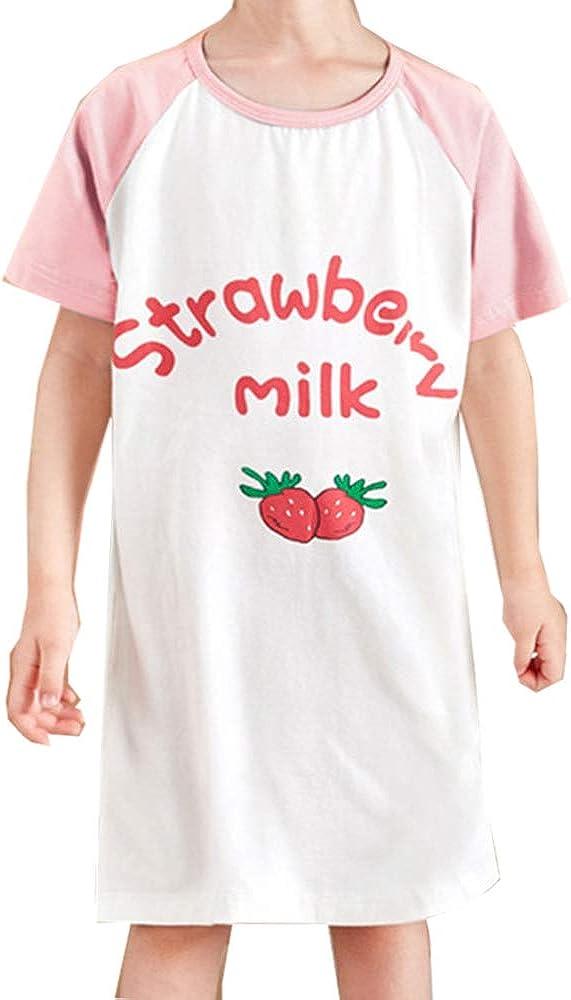 Neenicoliy Girls Nightgown Sleep Shirts Princess Casual Pajamas Dress Nightwear White