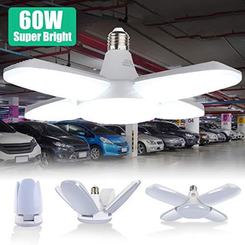E27 LED Garagenleuchte 60W, Verformbare Garagenlicht mit 4 Verstellbaren Paneelen, LED Werkstattlampen für Garage, Lager, Werkstatt, Keller, Fitnessraum, Küche (6500K, 6000LM, CRI80)