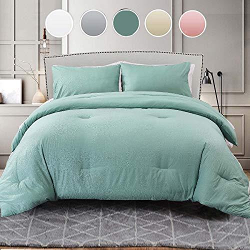 NANKO Comforter Set Queen Size, Grey Grid Print 88 x 90 inch Reversible Down Alternative Comforter Microfiber Duvet Sets (1 Comforter + 2 Pillow) Best Modern Bedding for Women Men, Gray Plaid Bed Set