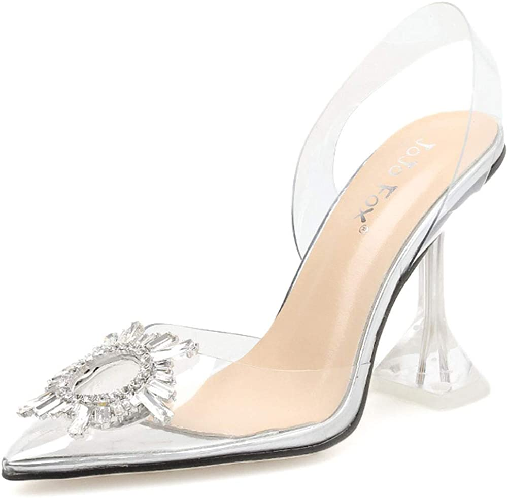 SaraIris Women's Clear High Heel Sandals Slip On Pointed Toe Slipper Transparent PVC Sexy Crystal Heeled Sandals Wedding Party Dress Pumps Shoes