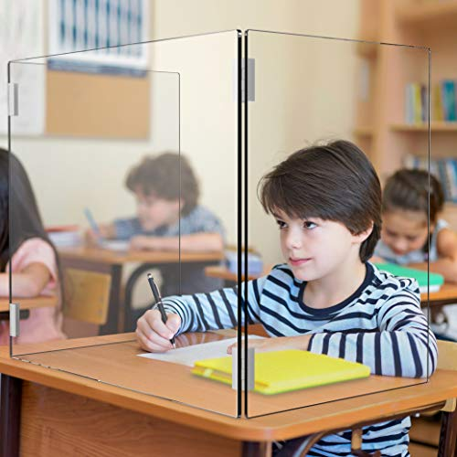 HUGAD4U Portable and Clear Protective Sneeze Guard, Clear Acrylic Plexiglass Shield, Classroom, Desk, Countertop, Without Window Through, SF600N (23.23' W x 19.29' H x 11.42' D)