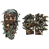 Camouflage Face Mask 3D Leaf Stereo Turkey +1 Pair Fishing Hunting 3D Leaf Gloves Outdoor Sport Hunting Ghillie Suits