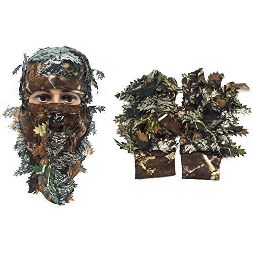 Huenco Tarnung Gesichtsmaske 3D Leaf Stereo Türkei +1 Paar Angeln Jagd 3D Leaf Handschuhe Outdoor...