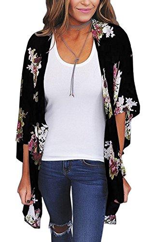 Women's Kimono Cardigan Floral Print 3/4 Sleeve Shawl Chiffon Casual Blouse Tops (Black07,L)