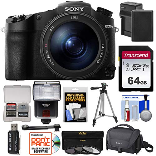 Sony Cyber-Shot DSC-RX10 III 4K Wi-Fi Digital Camera with 64GB Card + Battery & Charger + Case...