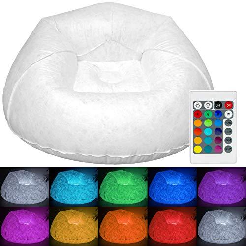 Tronje LED Fauteuil gonflable 120kg Siège XXL Pouf extérieur Multicolore Club Salon Beanbag
