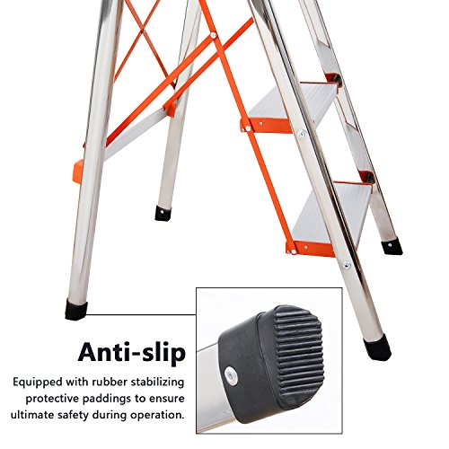4-Step Stool Ladder Portable Folding Anti-Slip with Rubber Hand Grip 330lbs Capacity,Silver Household Stepladders