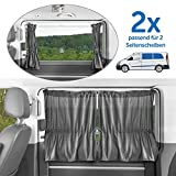 Zamboo - 2X Cortina Universal Protección Solar Furgonetas/Multivan (p. ej. VW T4,T5, Mercedes Vito) - Parasol para Ventanas Laterales - Fácil Montaje con Ventosas - Gris