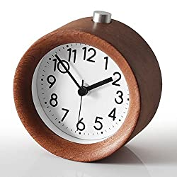 Small Battery Operated Analog Travel Alarm Clock ,Aimarytech Creative Wood Clock Silent No Ticking, Ascending Beep Sounds, Snooze,Light Functions,Gentle Wake, Easy Set.