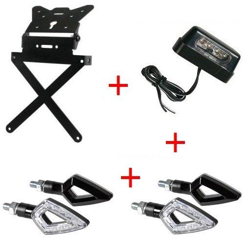 Support de plaque d'immatriculation pour moto universel Kit sportif + 4 Flèches + lumière plaque d'immatriculation Lampa homologué Yamaha MT – 01 sP 1670 2009 – 2017